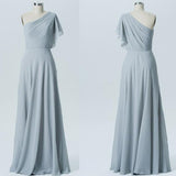 Long Bridesmaid Dress, Chiffon Bridesmaid Dress, One-Shoulder Bridesmaid Dress, Floor-Length Bridesmaid Dress, Cheap Bridesmaid Dress, Simple Bridesmaid Dress, LB0542