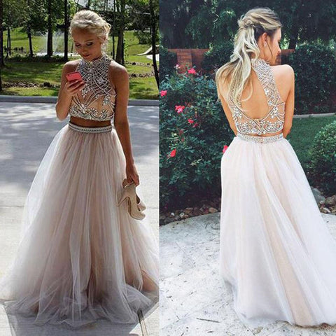 Long Prom Dresses, Tulle Prom Dresses, A-Line Party Dresses, Two Pieces Evening Dresses, New Arrival Prom Dress with Beads , Sexy Prom Dresses, Open-Back Prom Dress, LB0543