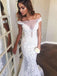 Lace Off Shoulder Sexy Tulle Mermaid Wedding Dress, LB0548