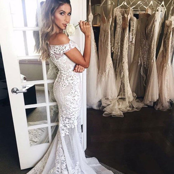 Long Wedding Dress, Lace Wedding Dress, Off Shoulder Bridal Dress, Sexy Wedding Dress, Tulle Wedding Dress, Floor-Length Wedding Dress, Mermaid Wedding Dress, LB0548