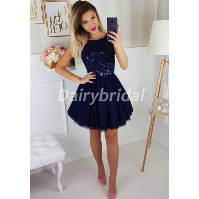 Tulle Homecoming Dress, Sleeveless Homecoming Dress, Sequin Homecoming Dress, Beautiful Junior School Dress, Knee-Length Homecoming Dress, KX54