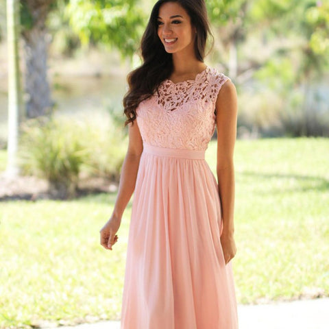 Long Chiffon Bridesmaid Dress, Lace Floor-Length Cheap Bridesmaid Dress, Sleeveless Bridesmaid Dress, LB0554