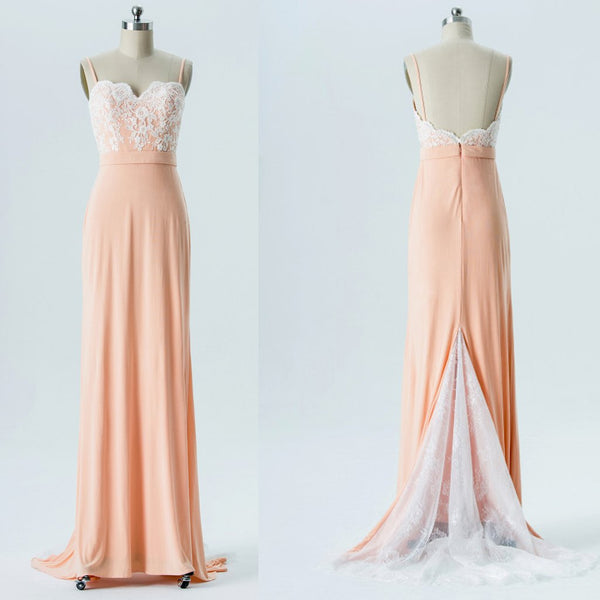 Long Bridesmaid Dress, Chiffon Bridesmaid Dress, Lace Bridesmaid Dress, Spaghetti Straps Bridesmaid Dress, Cheap Bridesmaid Dress, Backless Bridesmaid Dress, LB0558