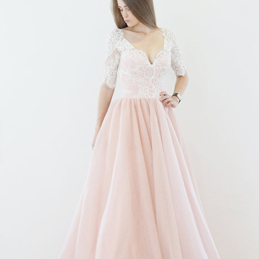 Long Wedding Dress, Tulle Wedding Dress, Half Sleeve Bridal Dress, Sexy V-Back Wedding Dress, Lace Wedding Dress, V-Neck Wedding Dress, Pink Wedding Dress, LB0563