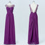 Long Bridesmaid Dress, Chiffon Bridesmaid Dress, Beading Bridesmaid Dress, Floor-Length Bridesmaid Dress, Purple Bridesmaid Dress, V-Back Bridesmaid Dress, LB0566