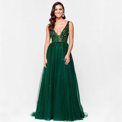 Green V-Neck Prom Dress, Tulle Backless Beaded Charming Prom Dress, D570