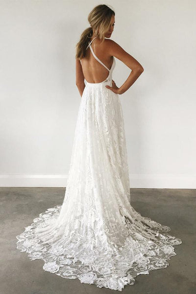 Long Wedding Dress, Lace Wedding Dress, V-Neck Bridal Dress, Backless Wedding Dress, Criss-Cross Wedding Dress, White Wedding Dress, Beach Wedding Dress, LB0571