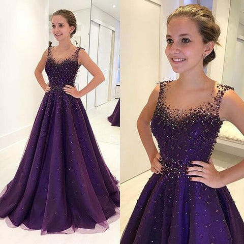 Sparkle Beaded A-Line Prom Dress, Charming Purple Tulle Prom Dress, D577