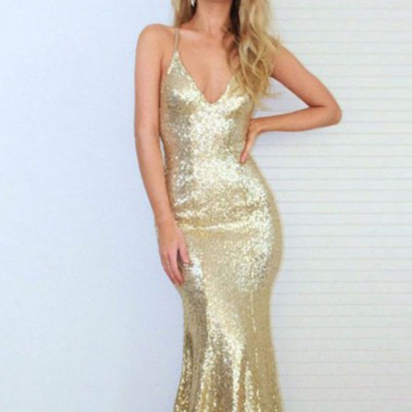 Long Prom Dresses, Sequin Prom Dresses, Mermaid Party Dresses, Golden Evening Dresses, V-Neck Prom Dress, Backless Prom Dress, Sexy Prom Dress, LB0577