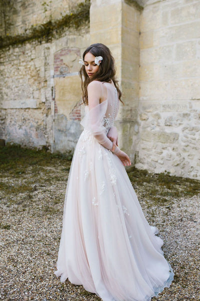 Long Wedding Dress, Tulle Wedding Dress, Applique Bridal Dress, Long Sleeve Wedding Dress, A-Line Wedding Dress, Scoop Neckline Wedding Dress, Charming Bridal Dress, LB0579