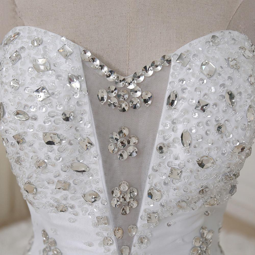 Hot Sale Luxury Soft Tulle Hand Made Sweetheart Sequin Rhinestone backless Wedding Dresses with Long Train,220058