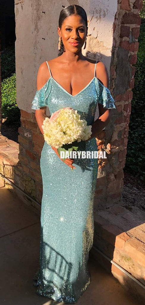 Off Shoulder Charming Spaghetti Straps Sequin Sparkle Mermaid Bridesmaid Dress, FC5802