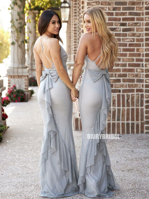 Sparkle Mermaid Spaghetti Straps V-neck Backless Long Bridesmaid Dress, FC5817