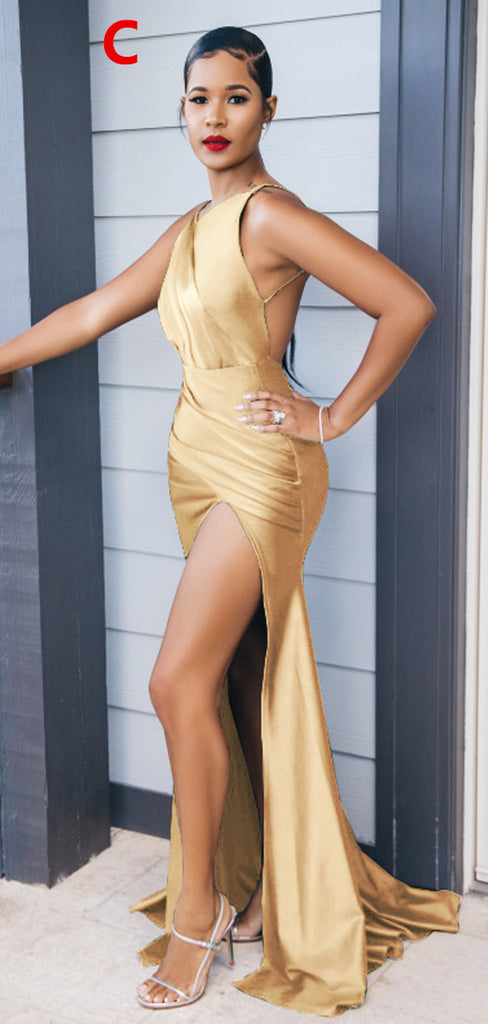 Gold Mismatched Mermaid Sexy High Slit Bridesmaid Dress, FC5838