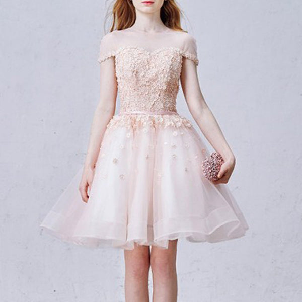 Short Homecoming Dress, Organza Homecoming Dress, New Arrival Homecoming Dress, Applique Junior School Dress, Tulle Graduation Dress, Knee-Length Homecoming Dress, LB0584