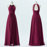 Long Bridesmaid Dress, Chiffon Bridesmaid Dress, Simple Design Bridesmaid Dress, Floor-Length Bridesmaid Dress, Halter Bridesmaid Dress, Sleeveless Bridesmaid Dress, LB0586