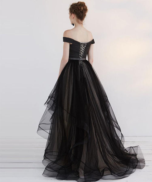 Long Prom Dresses, Tulle Prom Dresses, Off-Shoulder Party Dresses, Black Evening Dresses, Sweet Heart Prom Dress, Backless Prom Dress, Charming Prom Dress, LB0589
