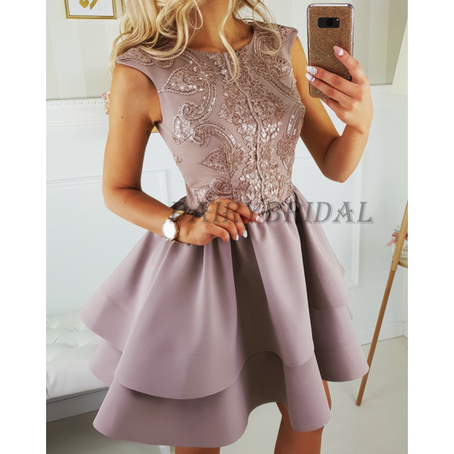Satin Sleeveless New Arrival Homecoming Dress, Sequin A-Line Homecoming Dress, D58