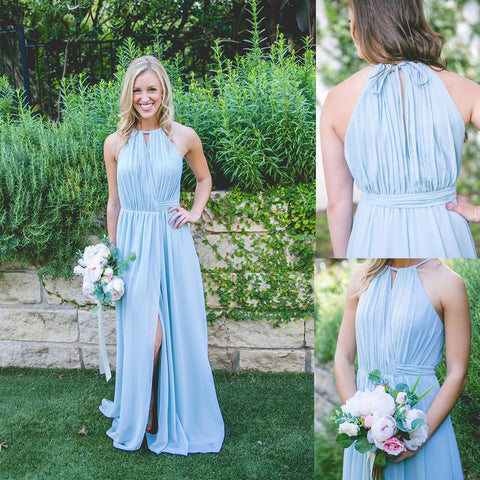 Long Bridesmaid Dress, Chiffon Bridesmaid Dress, Halter Bridesmaid Dress, Floor-Length Bridesmaid Dress, Side split Bridesmaid Dress, Sleeveless Bridesmaid Dress, LB0594