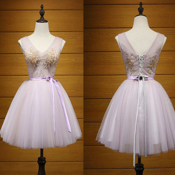 Short Homecoming Dress, Tulle Homecoming Dress, V-Neck Homecoming Dress, Beading Junior School Dress, Applique Graduation Dress, Knee-Length Homecoming Dress, LB0596
