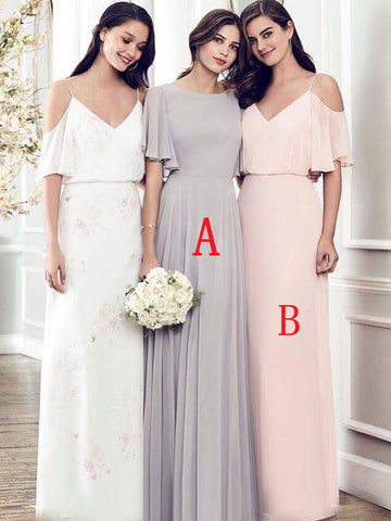 Mismatched A-Line Chiffon Bridesmaid Dress, Cheap V-Back Bridesmaid Dress, D597