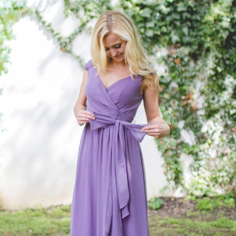 Long Bridesmaid Dress, Chiffon Bridesmaid Dress, Cap Sleeve Bridesmaid Dress, Floor-Length Bridesmaid Dress, New Arrival Bridesmaid Dress, V-Back Bridesmaid Dress, LB0598
