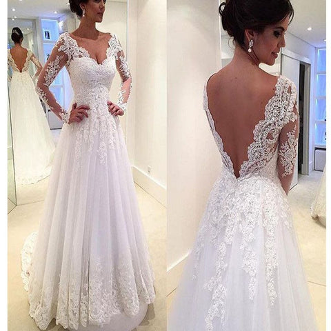 Popular Elegant Full Sleeve V Back Lace Inexpensive Bridal Long Wedding Dress, 220001