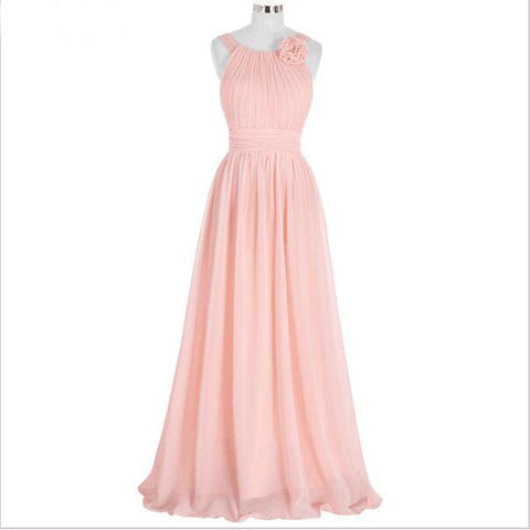 Elegant Pink Bridesmaid Dress,Long Chiffon Beach Bridesmaid Dresses,2017 Wedding Formal Dress,220060