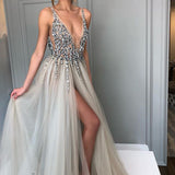 A-line Tulle Charming Deep V-neck Beaded Backless Prom Dresses, FC601