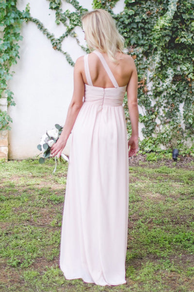 Long Bridesmaid Dress, Chiffon Bridesmaid Dress, One-Shoulder Bridesmaid Dress, Floor-Length Bridesmaid Dress, Simple Design Bridesmaid Dress, Sleeveless Bridesmaid Dress, LB0602