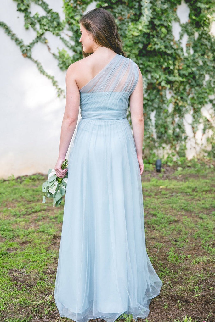 Long Bridesmaid Dress, Tulle Bridesmaid Dress, One-Shoulder Bridesmaid Dress, Floor-Length Bridesmaid Dress, Simple Design Bridesmaid Dress, Sleeveless Bridesmaid Dress, LB0606