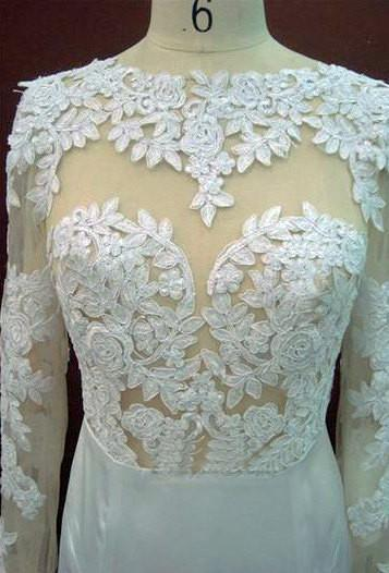 Long Sleeves Lace Mermaid Open Back White Long Wedding Party Dresses, WG613