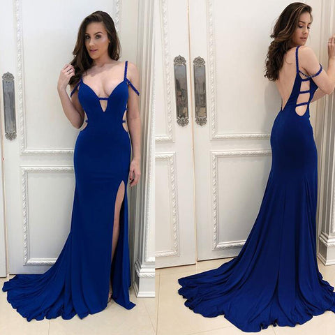 Backless Mermaid Satin Prom Dress, Sexy Slit Beaded Prom Dress, D615