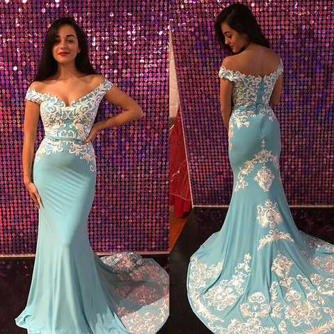 Charming Off Shoulder Prom Dress, Soft Satin Mermaid Applique Prom Dress, D617