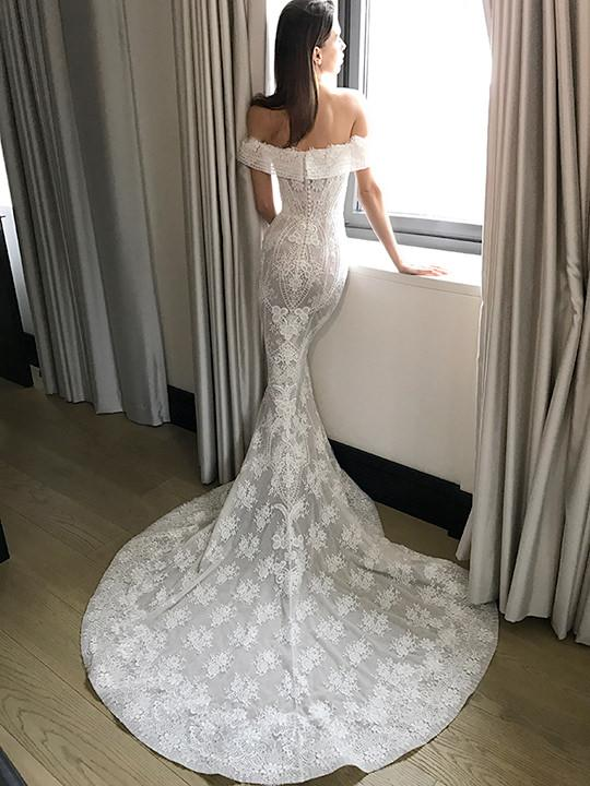 Long Wedding Dress, Lace Wedding Dress, Off-Shoulder Bridal Dress, Mermaid Wedding Dress, Backless Wedding Dress, Applique Wedding Dress, Sexy Wedding Dress, LB0619