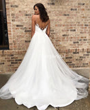 Spaghetti Straps Lace Tulle Wedding Dress, Charming Beaded V-Back Wedding Dress, D619