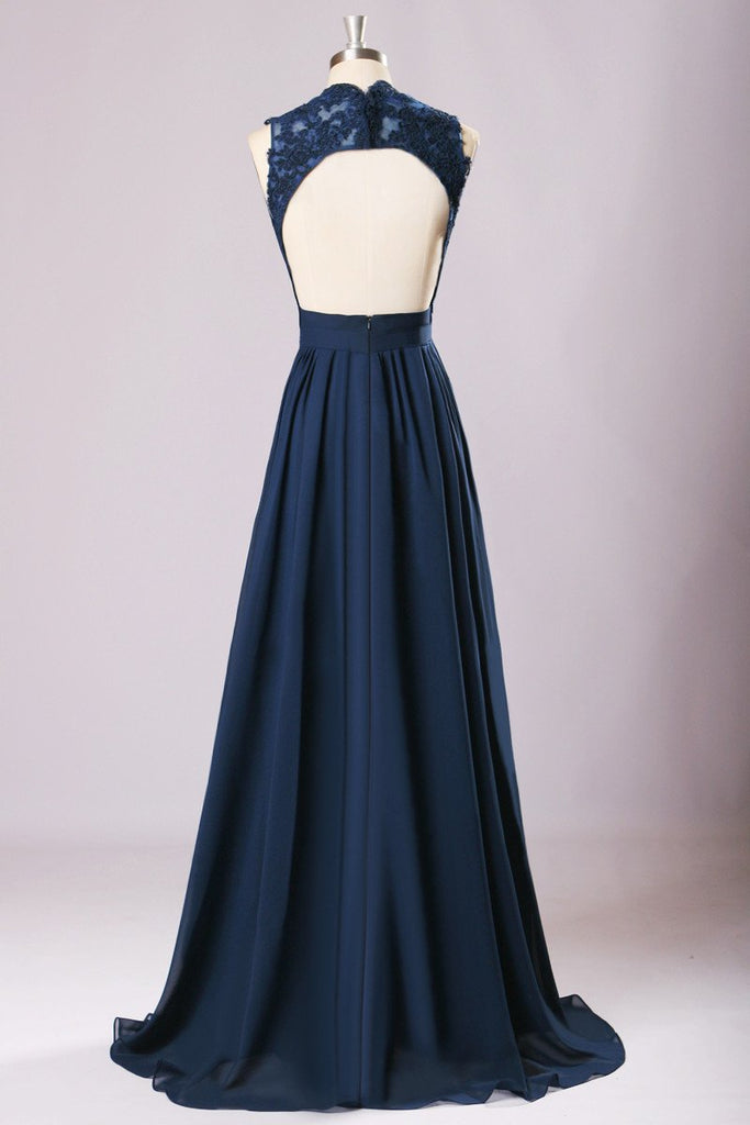 New Long Bridesmaid Dresses Navy Blue Chiffon Wedding Party Gown,off-shoulder Maid of Honor Long Prom Gown,220062