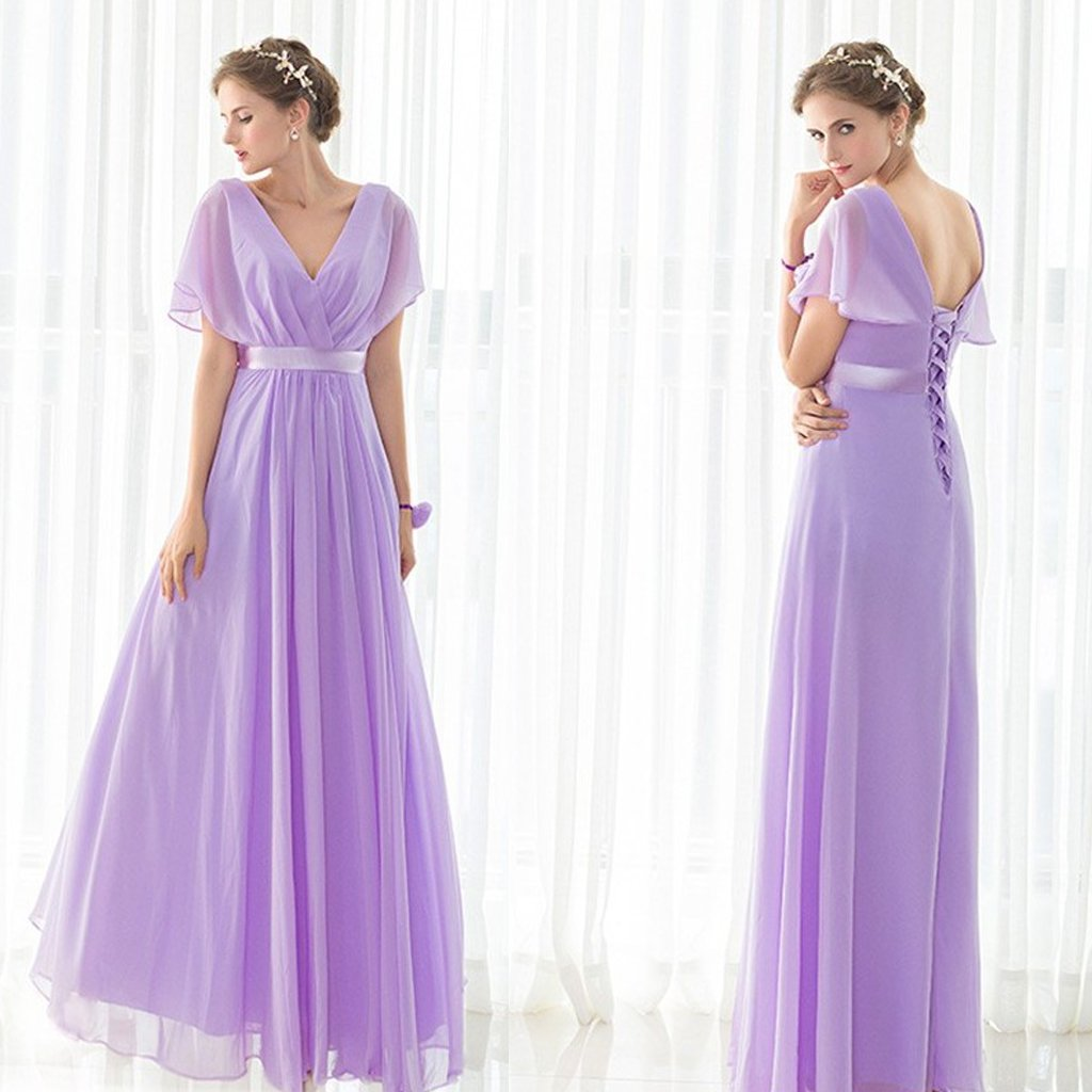Long Bridesmaid Dress, Chiffon Bridesmaid Dress, V-Neck Bridesmaid Dress, Purple Bridesmaid Dress, Simple Design Bridesmaid Dress, Floor-Length Bridesmaid Dress, LB0622