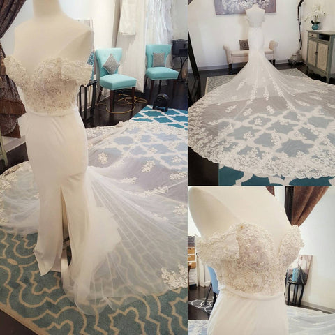 Beautiful Off Shoulder Short Sleeve Side Slit Gogeous Long Wedding Dress with Long Train, WG626