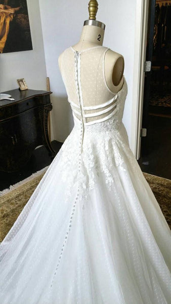 Charming Unique Round Neck Sleeves White Lace See Through Back Long Wedding Dress, WG627