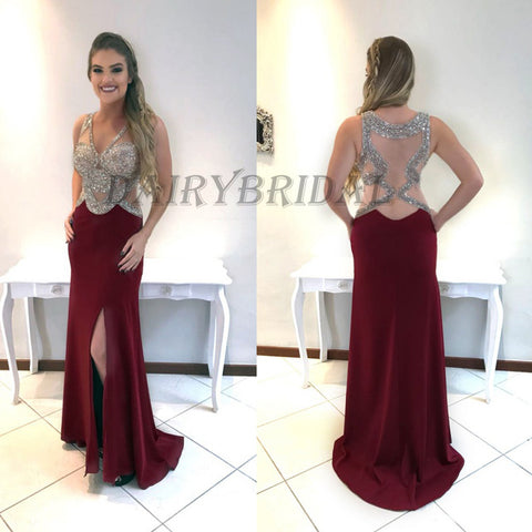 Sleeveless Prom Dress, Tulle Prom Dress, Beaded Prom Dress, Burgundy Prom Dress, Side Split Prom Dress, Floor-Length Prom Dress, D62