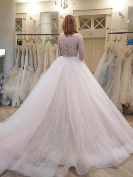 Long Wedding Dress, Organza Wedding Dress, Spaghetti Straps Bridal Dress, Sleeveless Wedding Dress, Backless Wedding Dress, Beading Wedding Dress, Wonderful Wedding Dress, LB0635