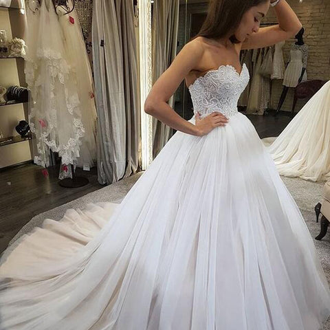 Charming Sweet Heart Beaded Wedding Dress, Honest Tulle A-Line Backless Wedding Dress, D636