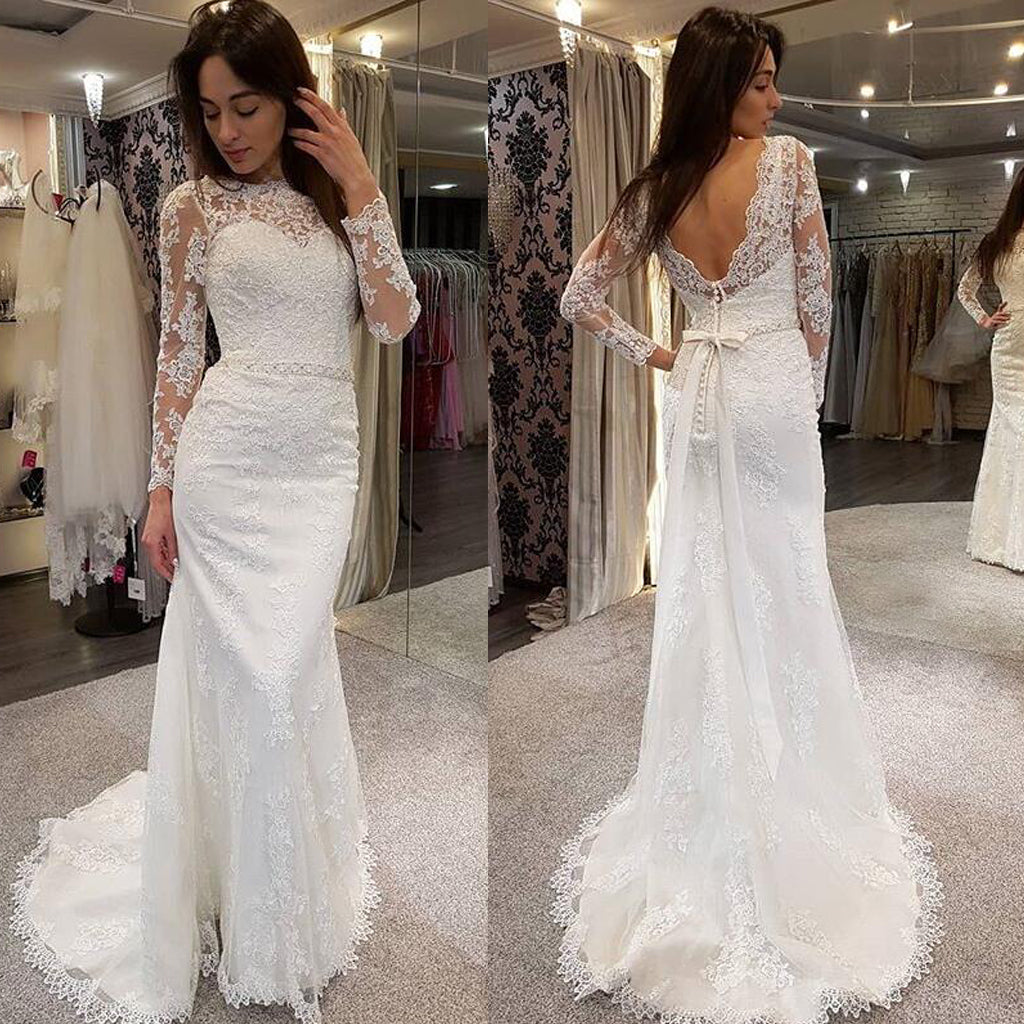Charming Long Sleeve Lace Wedding Dress, Applique Mermaid V-Back Wedding Dress, D637