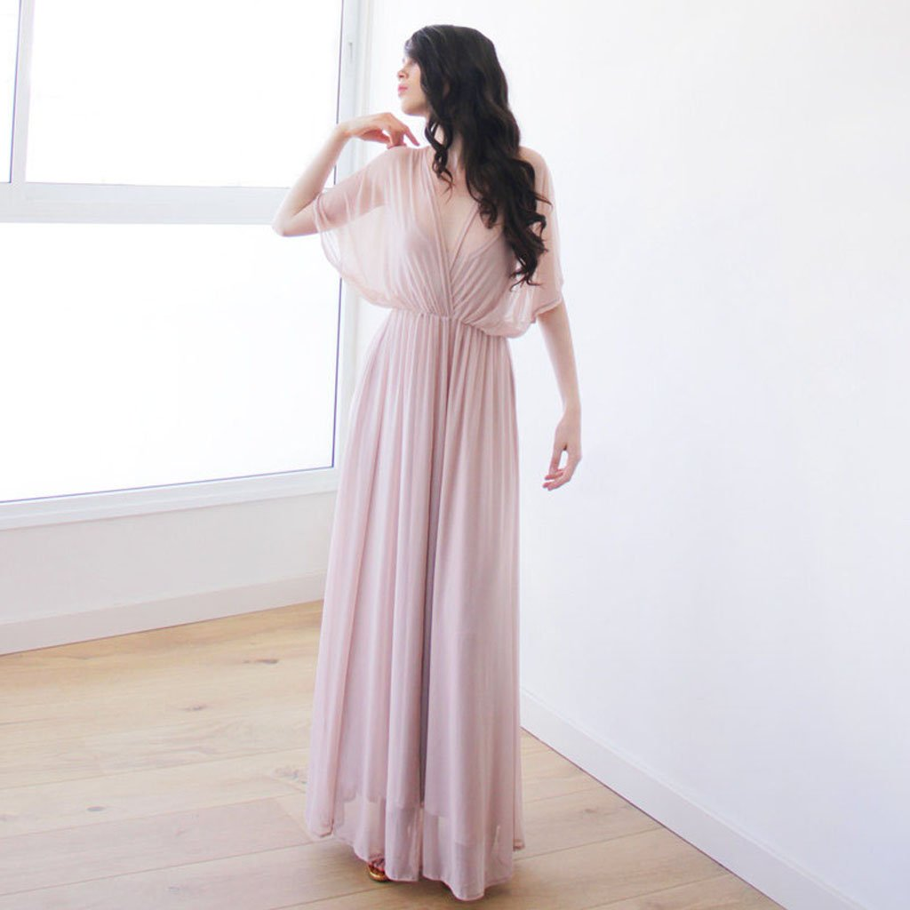 Long Bridesmaid Dress, Chiffon Bridesmaid Dress, V-Neck Bridesmaid Dress, Floor-Length Bridesmaid Dress, Sexy Bridesmaid Dress, Simple Design Bridesmaid Dress, LB0642