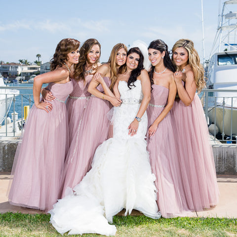 Simple Sweet Heart Bridesmaid Dress, Long Tulle Backless Floor-Length Cheap Bridesmaid Dress, D651