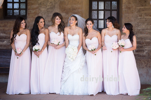 Light Pink Chiffon Bridesmaid Dress, Sweet Heart Backless Bridesmaid Dress, D652