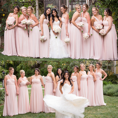 Convertible Backless Bridesmaid Dress, Pink Chiffon Bridesmaid Dress, D653