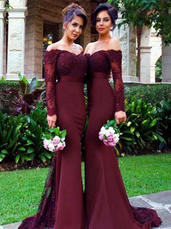 Long Bridesmaid Dress, Satin Bridesmaid Dress, Off-Shoulder Bridesmaid Dress, Floor-Length Bridesmaid Dress, Applique Bridesmaid Dress, Beading Bridesmaid Dress, LB0658