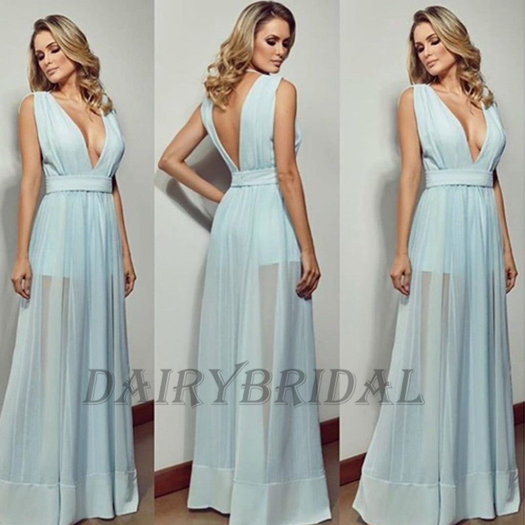 Deep V-Neck Prom Dress, Chiffon Prom Dress, Sexy Prom Dress, A-Line Prom Dress, V-Back Sleeveless Prom Dress,D65